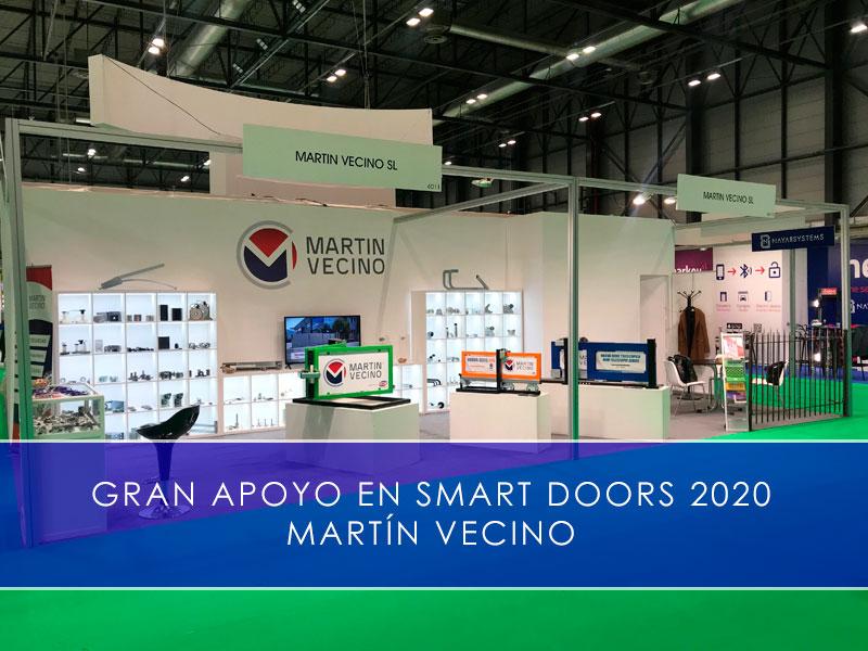 martin vecino detalle stand, gran apoyo en Smart Doors 2020
