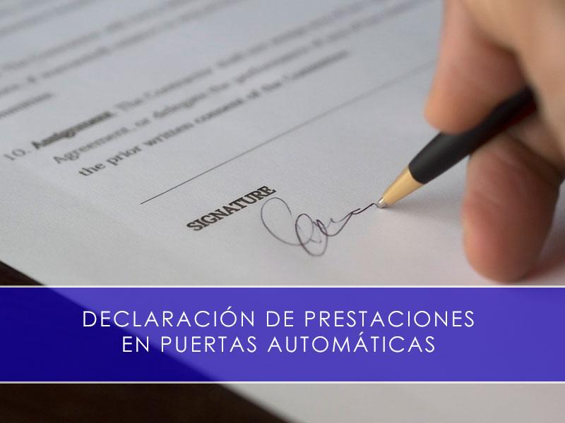 Declaración de prestaciones en puertas automáticas - Martín Vecino